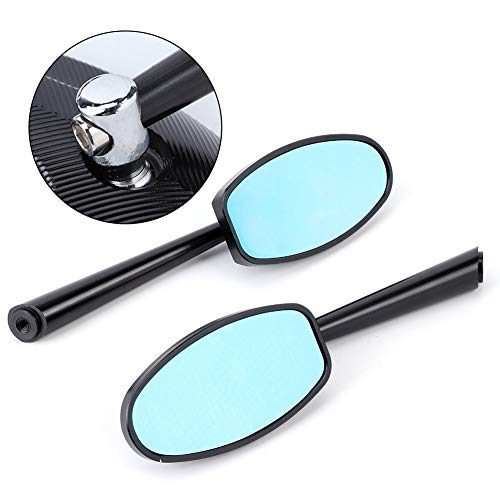 reflector de luz de espejo de motocicleta Reemplazo de 10mm / 8mm Espejo retrovisor de la motocicleta universal Moto accesorios Motorsiklet (Color : Black)