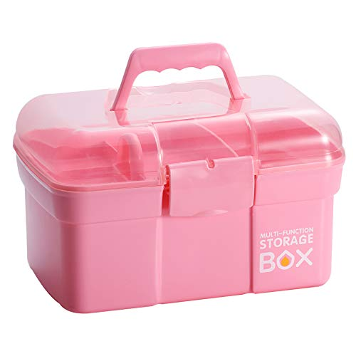 Kinsorcai 11'' Plastic Storage Box with Removable Tray, Multipurpose Organizer and Storage Case for Art Craft and Cosmetic (Pink)
