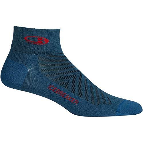 Icebreaker M RUN+ Ultralight Mini Blau, Herren Merino Socken, Größe L - Farbe Thunder - Chili Red
