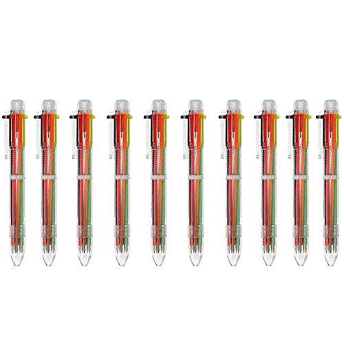 FGXY 10 Piezas 6-En-1 Bolígrafos De Bola Retráctiles Plumas De Multicolor, 6 Colores Plumas De Punta De Bola De Barril Transparente, Para Suministros Escolares De Oficina, Estudiantes Y Niños Regalo