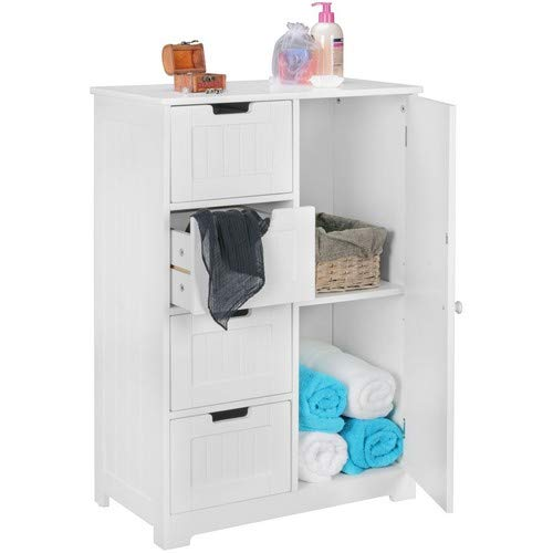 WOHNLING design: adkast LUIS landhuisstijl MDF-hout 56 x 83 x 30 cm wit | badkamerkast klein 4 laden en 1 deur | bijzetkast multifunctionele kast