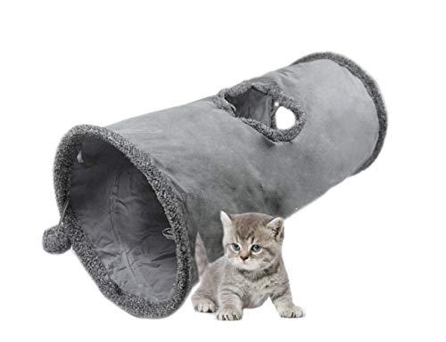 LeerKing Katzentunnel Katzenspielzeug Faltbar Spieltunnel Rascheltunnel für alle Katzen und kleine Tiere 1 Höhlen 67 * 30cm