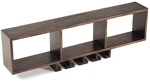 Drijvende planken, wandplank, wandplank, wijnrek van massief eikenhout met houten plank van glas als flessenhouder keuken voor slaapkamer keuken (kleur: walnoot) Walnoot Kleur