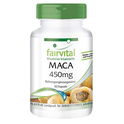 Maca 450mg - Lepidium meyenii - Raíz de Maca amarilla VEGANA - Dosis alta - 60 Cápsulas - Calidad Alemana