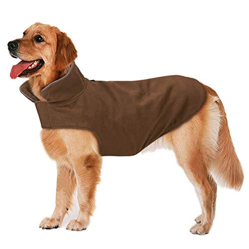 Bwiv Cappotto per Cani Grandi Media Impermeabile Giacche in Pile Cane con Apertura per Guinzaglio Giubbotto Caldo Striscia Riflettente Invernale,Marrone