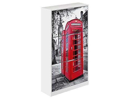 Movian Constance Modern - Armario zapatero de 3 puertas Londres, 25 x 75 x 128 cm (Impresión de Londres)