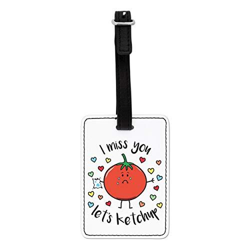 Gift Base i Miss You Vamos Ketchup Visual Equipaje Etiqueta con Correa Negra
