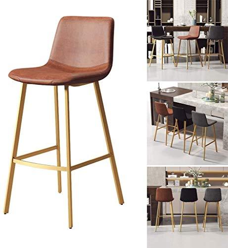 ZYF Taburetes de Bar giratoria banqueta Contador Altura de la Barra Sillas, taburetes con sillas de Respaldo PU imitación de Cuero Taburete del Contador de Cocina cenar (Color : Brown, Size : 65cm)