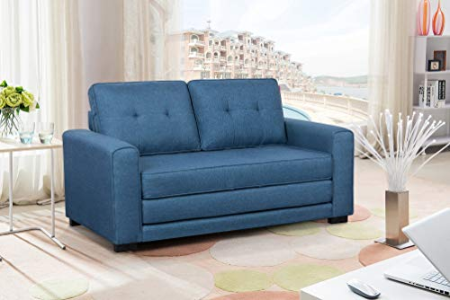 US Pride Furniture Daisy Modern Fabric Loveseat and Sofa Bed, Blue