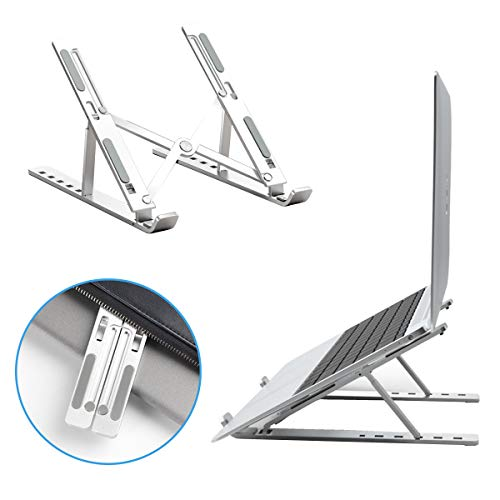 VIVID TREE Computer Stand for 10'-15.6' Laptop,Aluminum 6-Angles Adjustable Ventilated Cooling Mount Foldable Tablet Non-Slip Holder Compatible HP,Lenovo More Laptops & Tablet(Space Silver)