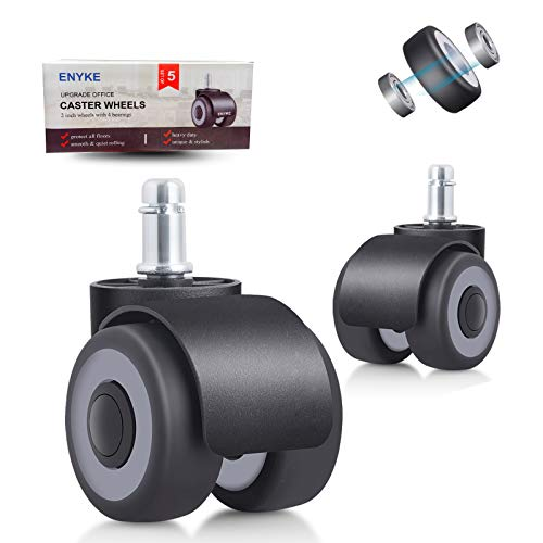 ENYKE Office Chair Wheels 2 Inch Rubber Chair Casters 4 Bearings Upgrade Design Heavy Duty 700LBS Protect Hardwood Floors without Floor Mat Set of 5