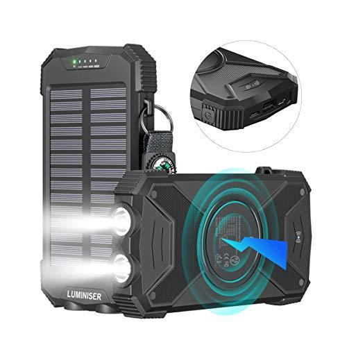 Luminiser Solar Power Bank; Qi Certified Wireless Portable Charger, 10,000 mAh External Battery Pack, Type C Input, Dual Flashlight & Compass, Splash- Shock- & Dustproof, Solar Panel Charging, (Black)