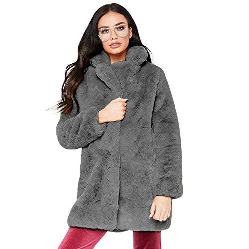Frauen Lässige Mode Winter Warmes langes Kunstfell Mantel Jacke
