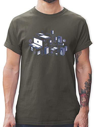 Nerds & Geeks - Netzwerk Design - M - Dunkelgrau - Designer Shirt - L190 - Tshirt Herren und Männer T-Shirts