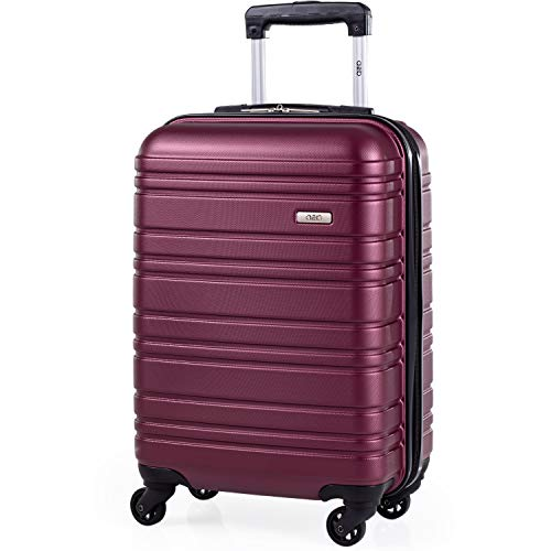 ABS Hard Shell 21 Inch Suitcase - Travel Luggage by A2B with 4 Spinner Wheels | Telescopic Drag Handle | Hard Sided Suitcases Lightweight Fits into Cage 56x45x25 (Plum, Small)