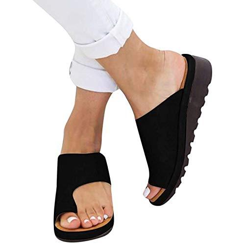 Sandalias Mujer Sandalias con Meseta Zapatos Cómodos para La Playa Sandalias De Verano Alpargatas Elegantes para Mujeres con Sandalias de Punta Abierta Mujeres,Negro,41