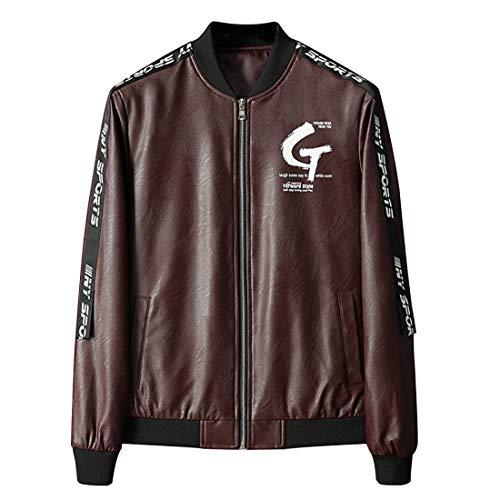 Yefree Herren Lederjacke Buchstabenmuster Hip Hop Street Dance Jacke Rippbündchen Seitentasche Sportswear Mit Reißverschluss