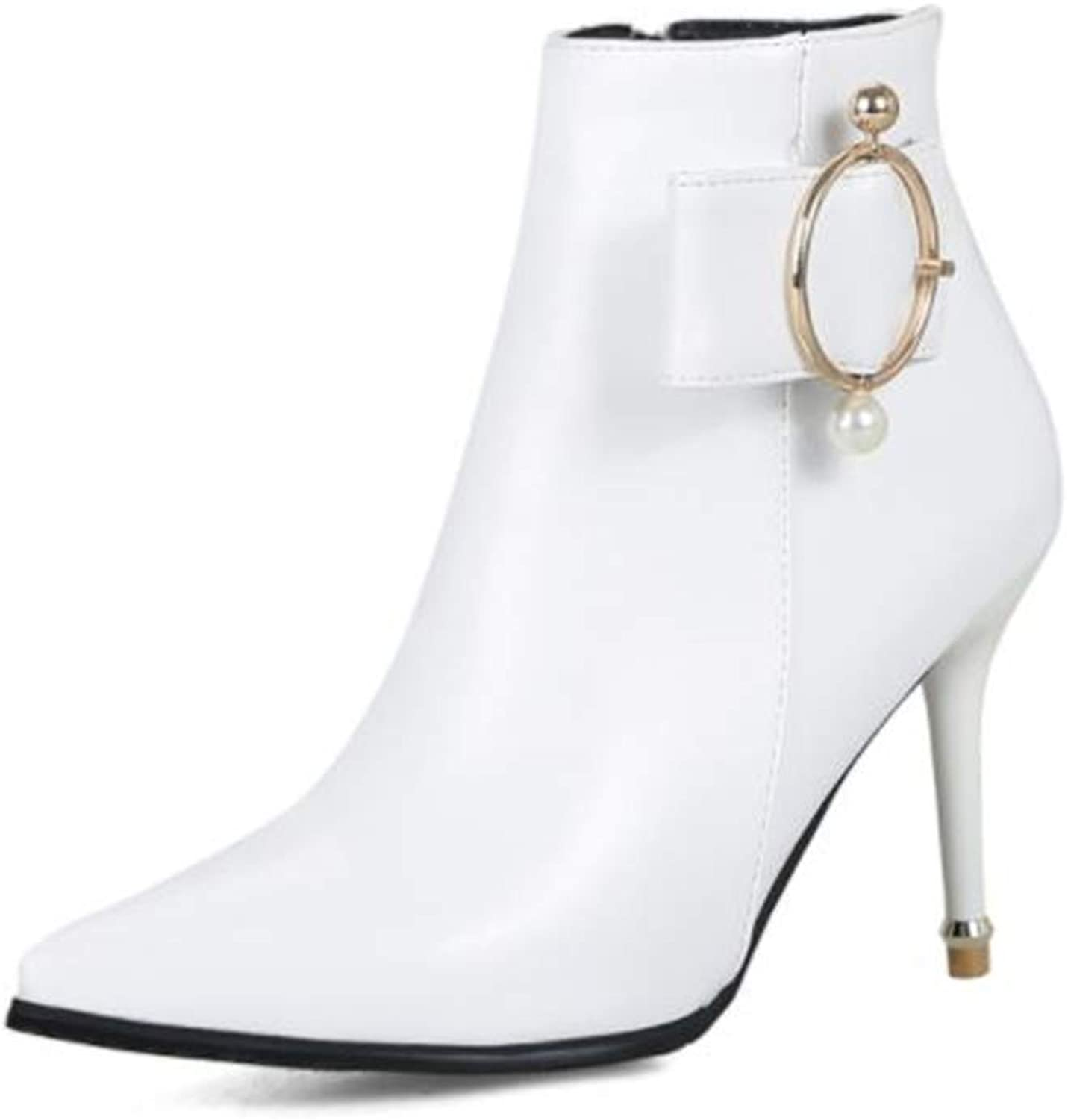 Women's Pointy Toe Side Zipper Stiletto High Heels PU Autumn Winter Ankle Boots with Pearls