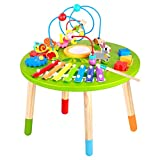 Wooden Activity Table for Toddlers | Multi-Purpose Children's Educational Learning Play Toy Set | Playset Easel with Bead Maze, Shape Block Puzzle for 2 Year Old Boy and Girls | ED435