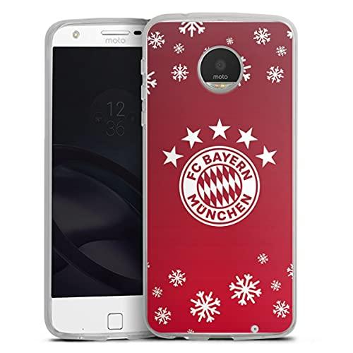 DeinDesign Silikon Hülle kompatibel mit Lenovo Moto Z Play Hülle transparent Handyhülle FC Bayern München Weihnachten Offizielles Lizenzprodukt