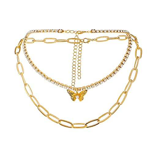 HAISWET Boho - Gargantilla para mujer, diseño de mariposa con cristales, color dorado