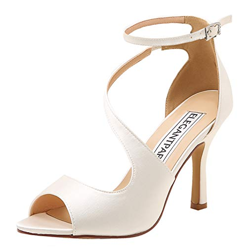 ElegantPark HP1565 Zapatos para Novia Mujer Peep Toe Sandalias de Boda Tacón Correa De Tobillo Satén Zapatos de Fiesta Novia Marfil EU 40