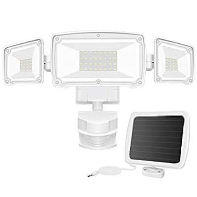 Solar Security Lights Outdoor, FURANDE 1500LM Super Bright LED Motion Sensor Light with 3 Adjustable Heads, 6000K IP65 Waterproof Solar Powered Flood Light for Backyard, Pathway, Patio