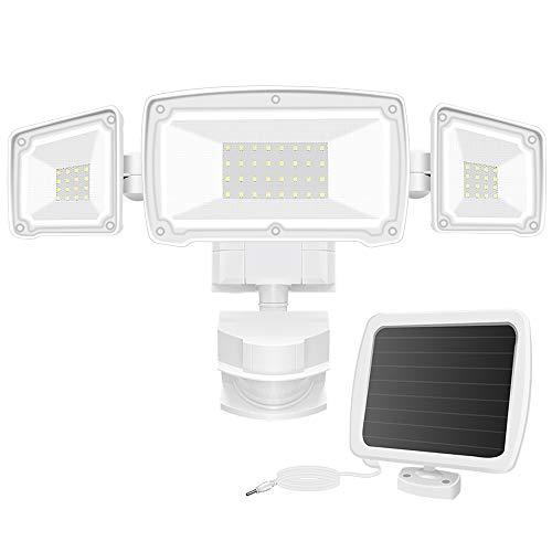Solar Security Lights Outdoor, FURANDE 1500LM Super Bright LED Motion Sensor Light with 3 Adjustable Heads, 6000K IP65 Waterproof Solar Powered Flood Light for Backyard, Pathway, Patio