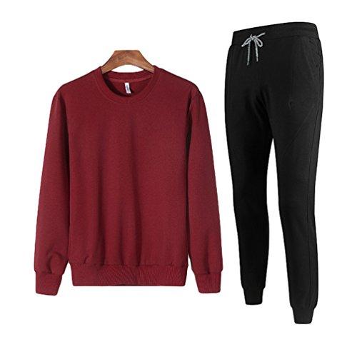 Jitong Homme Ensemble Jogging Survetement Col Rond à Manches Longues Sweat-Shirt Pantalon de Sport Rouge 3XL