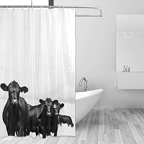 Duschvorhänge Black and White Cow Durable Polyester Bathroom Decor Waterproof Polyester Multicolored Der Duschvorhang hat 9 Knopflöcher und 12 Haken Breite150cmxhoch180cm