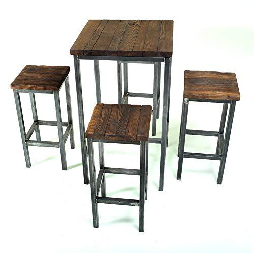CHYRKA® Bartisch Stehtisch Barhocker Barstuhl BarMöbel SAMBOR Loft Vintage Bar Industrie Design Handmade Holz Metall (Tisch 60x60 + 4 Hocker)