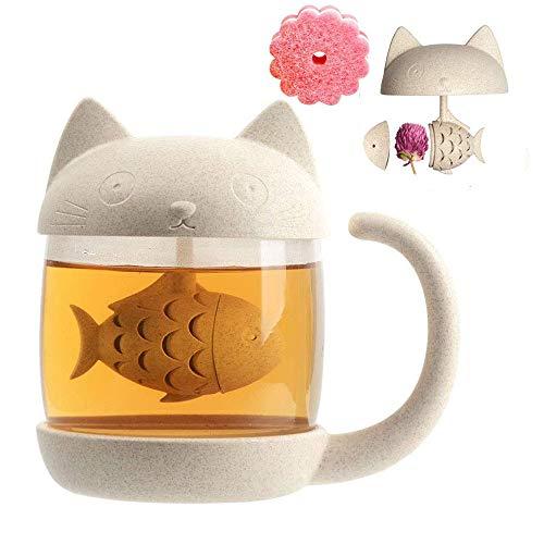 KIWLL Tazza Gatto, mug Tazza da tè in Vetro con Infusore, Perfetto Regalo di Compleanno di Natale per gli Amanti dei Gatti, 250 ml, Spugna per la pulizia gratuita