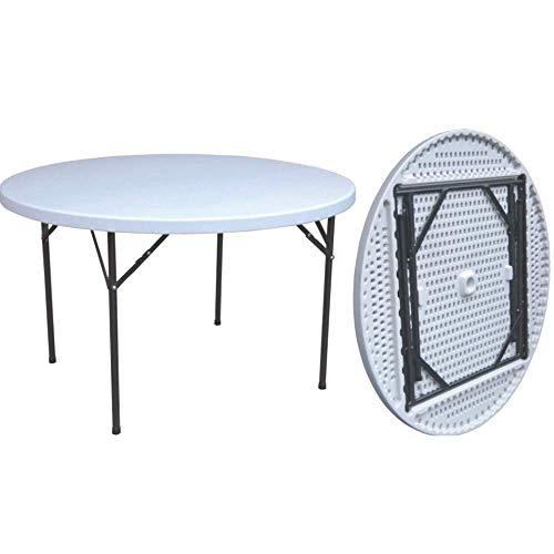 PiuShopping Mesa plegable de jardín, balcón, camping, redonda, blanco, ahorra espacio  ...