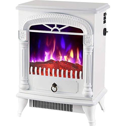 XHHWZB Startseite Heizung, Kamineinsatz, Einbau Eingebaute freistehender Kamin Heizung LED justierbare Flamme mit brennendem Kamin (Color : White)