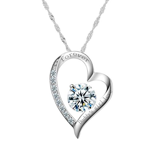 'Daddy's Girl Love Forever' Sterling Silver Heart Necklace Cubic Zirconia Engraved Pendant for Women