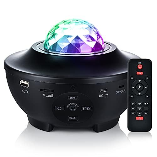 Proyector LED de Cielo Estrellado, Galaxy Light 21 Modos, Luz de Estrellas Giratoria, 10 Colores, LáMpara de Proyector con Altavoz Bluetooth y Temporizador Para Fiestas, Regalos (Negro)