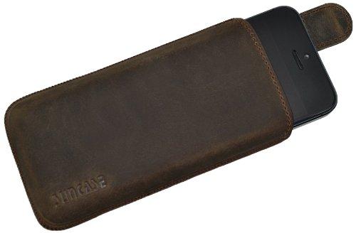 Original Suncase Tasche für Apple iPhone 5 / iPhone 5S / SE Leder Etui Ledertasche Schutzhülle Case Hülle - Lasche mit Rückzugfunktion* in antik braun