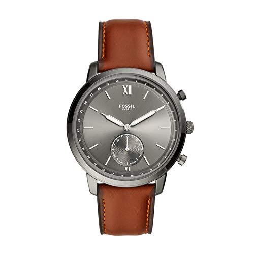 Fossil Herren Hybrid Smartwatch Neutra Leder Rotbraun