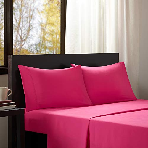 "Intelligent Design Wrinkle Resistant, Soft Sheets with 12"" Pocket Modern, All Season, Cozy Bedding-Set, Matching Pillow Case, Twin, Microfiber Pink"