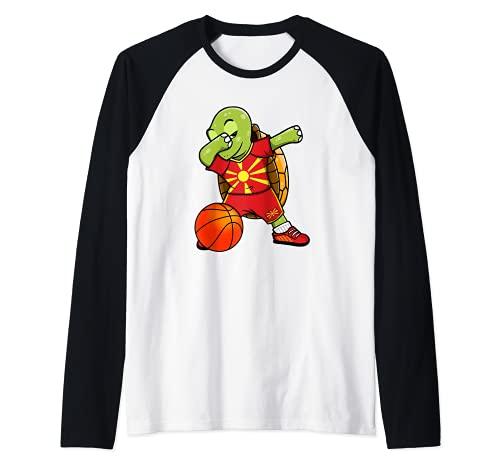 Dabbing Turtle Macedonia Jersey Macedonia Fans de baloncesto Camiseta Manga Raglan