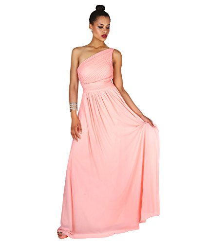 KRISP Vestido Mujer Fiesta Largo Talla Grande Hombro Descubierto Invitada Boda Dama, Rosa (4814), 42 EU (14 UK), 4814-PNK-14