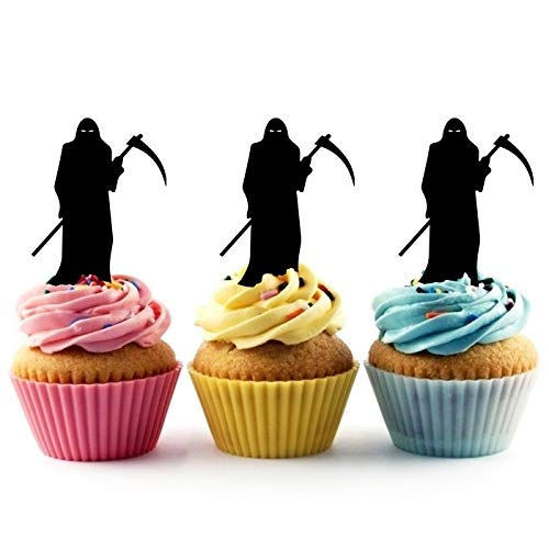 Grim Reaper Death Silhouette Acrylic Cupcake Toppers 12 pcs