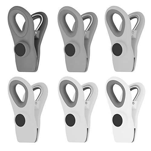 ZCHEN Clips de viruta, clips magnéticos para alimentos, multibolsa para informes de reunión de alimentos, sellado hermético para almacenamiento de cocina (gris, 6 unidades)