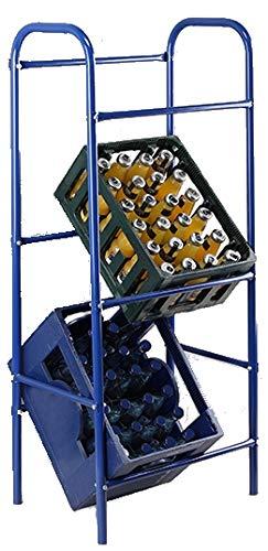 marion10020 Flaschen-Kastenständer Bierkasten Flaschenkasten-Ständer Getränkekisten-Regal, mit Wandhalterung, blau