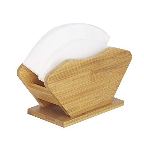 XQK Holz Kaffee Filterhalter, Bambus Filter Papier Aufbewahrungsbox Display Regal Rack Stand für Espresso Kaffeemaschine
