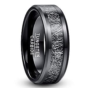 [Nuncad(ヌンカド)] メンズ 指輪 タングステン メテオライト シンプル 鏡面仕上げ エッジカット かっこいい 平打ち 日常指輪 黒 ブラック 幅:8mm 25号