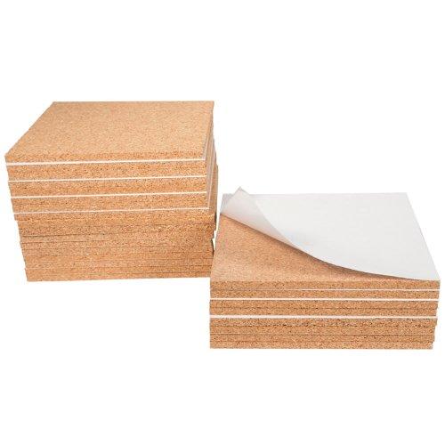 Foglio di sughero, adesivo, circa 15 x 15 x 0,6 cm - Kit con 25 pezzi