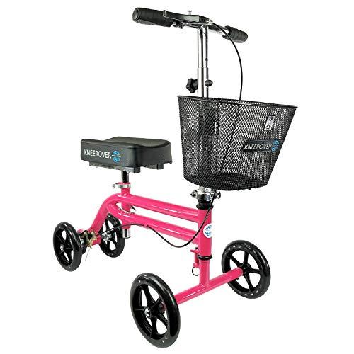 KneeRover Steerable Knee Scooter Knee Walker Crutch Alternative in Hot Pink