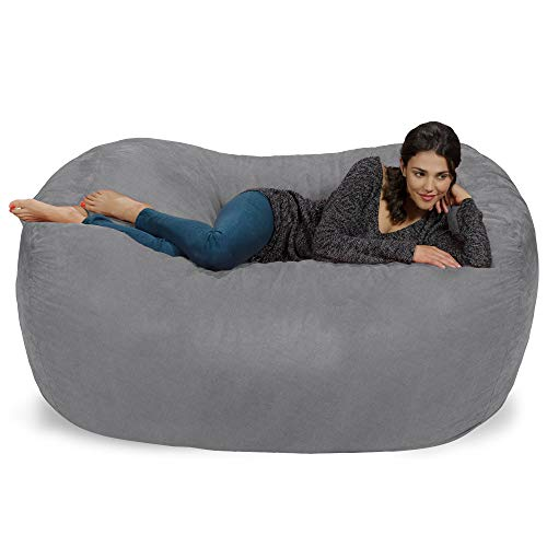 Chill Sack Bean Bag Chair: Huge 6' Memory Foam Furniture Bag and Large Lounger - Big Sofa with Soft Faux Linen Cover - Linen Gray