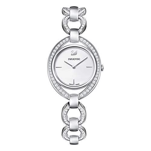 Swarovski Women's Stella Watch, White Swarovski Crystals with Silver-Tone Stainless Steel Plating, Quartz Wristwatch
